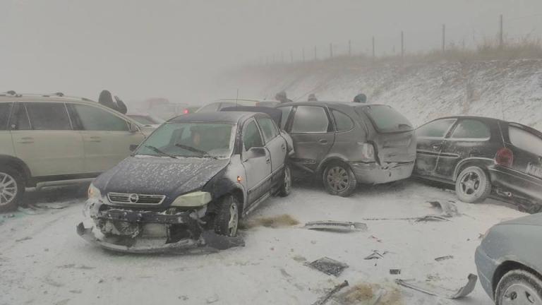 Верижна катастрофа затвори магистрала Тракия